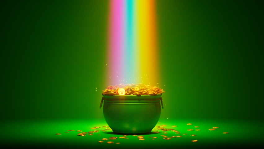 The magical rainbow that leads to the pot of gold. Irish symbol of luck, success and wealth. A green cauldron is full of golden coins. Leprechaun's treasure on a green background. St Patrick day. Rich   Shutterstock HD Video #1066661104