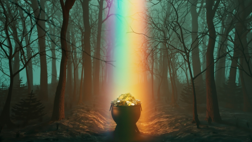 The magic pot of gold at the end of the rainbow. An iron cauldron is full of golden coins. Leprechaun's treasure in the dark forest. St Patrick day. Irish symbol of luck, success and wealth. Rich   Shutterstock HD Video #1066661113