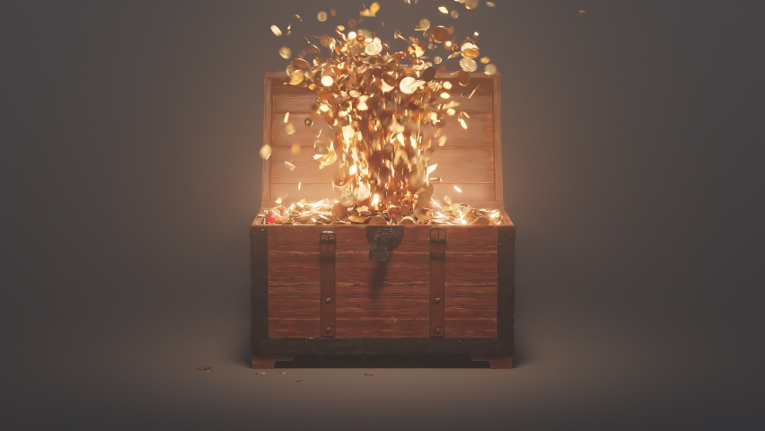 The old wood chest is opening and exploding of the fountain of golden coins. A wooden box filled with treasures on the dark background. Animation of the precious trunk full of gold and jewellery. | Shutterstock HD Video #1066661362