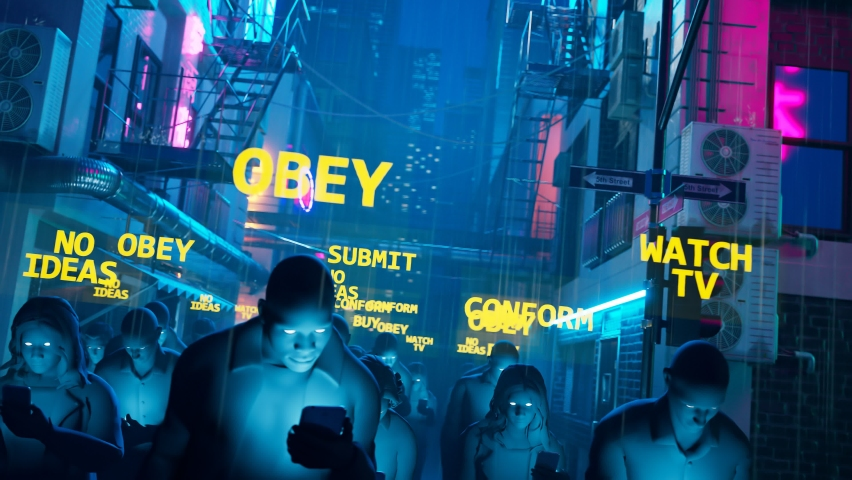 People on a street walk in the rain and stare at mobiles' screens. Humans hypnotized by their smartphones. Men and women illuminated by phones march in the dark. Zombie walk. Consumerism. Mind control   Shutterstock HD Video #1066661779