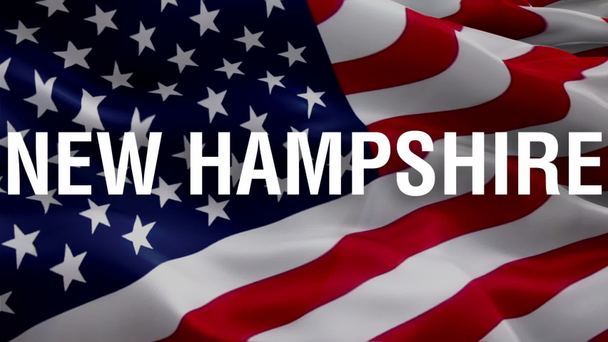 New Hampshire flag waving. National 3d United States flag waving. U.S. New Hampshire seamless loop animation. American US State flag HD resolution Background. Concord New Hampshire flag closeup 1080p