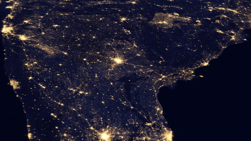 The country of India at night viewed from space from a satellite. Contains public domain image by NASA.   Shutterstock HD Video #1066734628