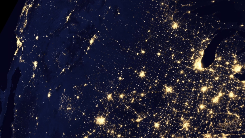 United States of America view from space from a satellite during night time.Contains public domain image by NASA.   Shutterstock HD Video #1066734664