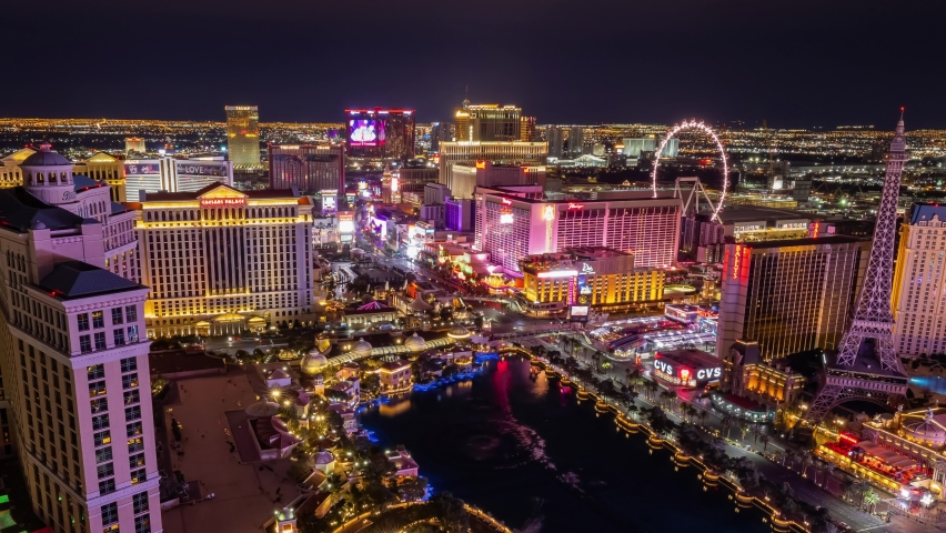 Las Vegas, JAN 26, 2021 - Night to morning high angle time lape of the Strip cityscape | Shutterstock HD Video #1066742995