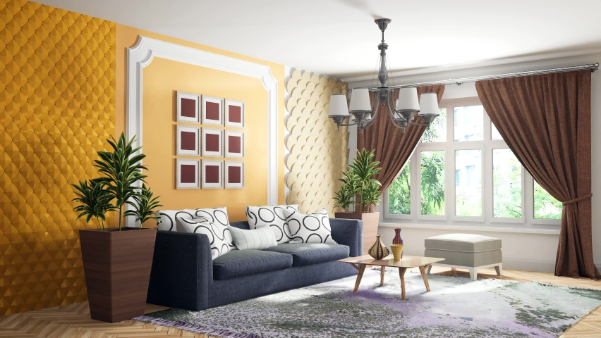 Interior of the living room. 3D illustration | Shutterstock HD Video #1066761892