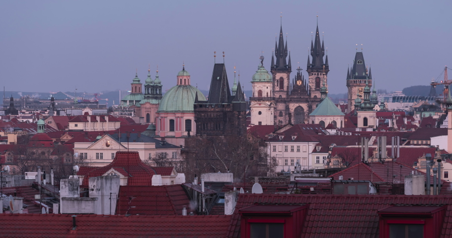 Panoramic timelapse twilight on Prague rooftops and old towers in Prague at sunset   Shutterstock HD Video #1066768348
