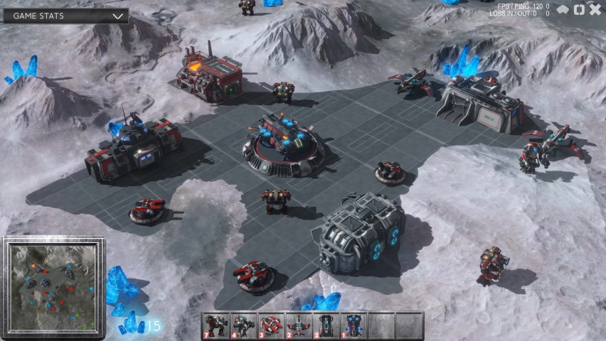 Fake Sci-Fi RPG Video Game Gameplay. Battle On The Moon With Spaceships And Robots. Looped 3D VFX Animation