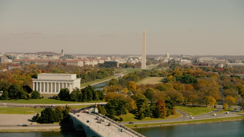 Washington, DC Aerial of the National Mall Royalty-Free Stock Footage #1066799422