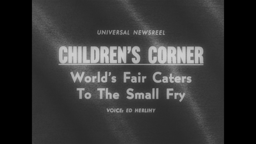 1960s: Title card. People walk by New York World's Fair globe. People walk around World's Fair. Children walk into children's exhibit at fair. Kids operate mechanical arms in World's Fair exhibit.