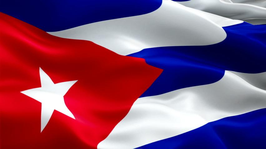 Cuba waving flag. National 3d Cuban flag waving. Sign of Cuba seamless loop animation. Cuban flag HD resolution Background. Cuba flag Closeup 1080p Full HD video for presentation
