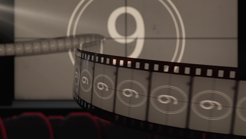 Film strip against cinema screen with old fashioned countdown movie and flicker of the projector light. Template of the premiere of a movie or a television program on a TV channel, loop 3d animation.