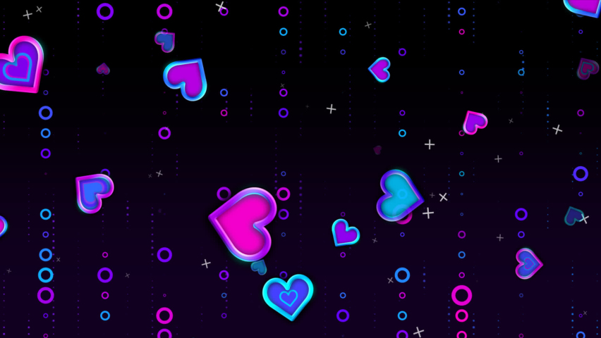 Abstract Colorful Valentine Heart Shaped visualization flowing with bokeh glitter and circle particle background. Digital Art. Computer animation. Modern background. motion design. Loopable. LED. HD