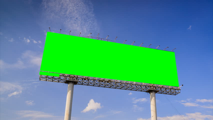 Time lapse of green screen advertising billboards on blue sky and cloud. | Shutterstock HD Video #10669025
