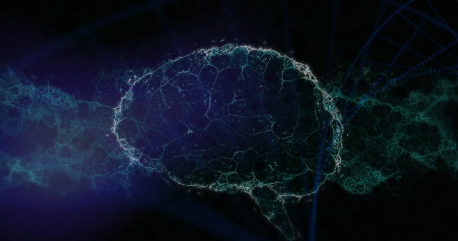 Digital animation of human brain and dna structure spinning against blue background. computer interface and medical research technology concept.   Shutterstock HD Video #1066924087