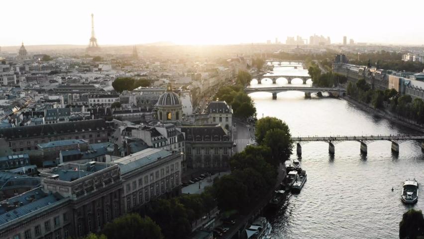 River Seine Paris, France, sunset aerial drone, Paris Frane. Cinematic 4k.