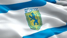 Jerusalem City waving flag. National 3d Jerusalem flag waving. Sign of Jerusalem Israel City seamless loop animation. Israel flag HD resolution Background. Jerusalem flag Closeup 1080p Full HD video
