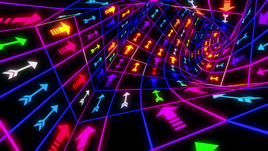 Arrows Colorful Neon Tunnel Looped Video | Shutterstock HD Video #1067005216