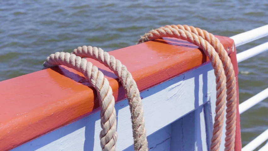 Untied ship rope close-up slowmotion