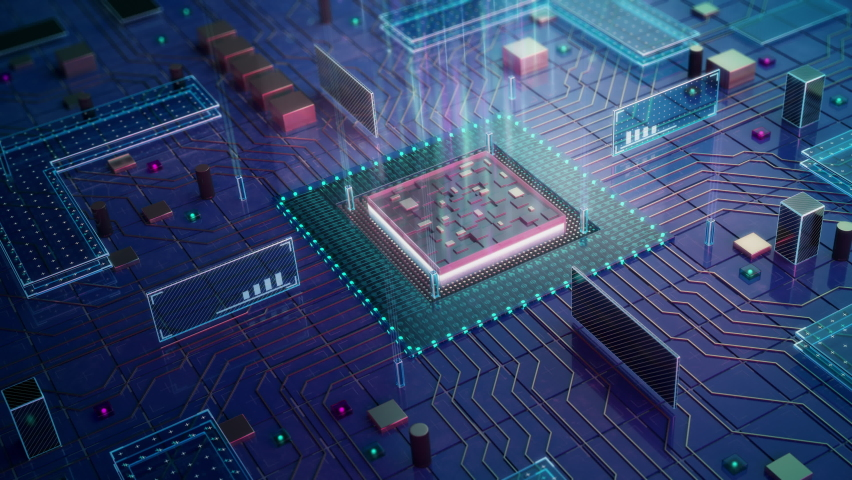 CPU computing visualization.   Digital Lines Move Data.  Visualization of Machine Learning, AI, Networking and Cloud Computing Data.  High-quality Ultra HD, 4K 3840x2160 3D animation.    Shutterstock HD Video #1067094676