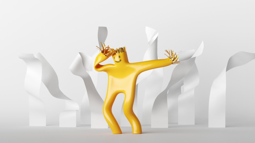 looping animation of 3d cartoon character dancer. Yellow inflatable toy skydancer is swaying with white ribbons
