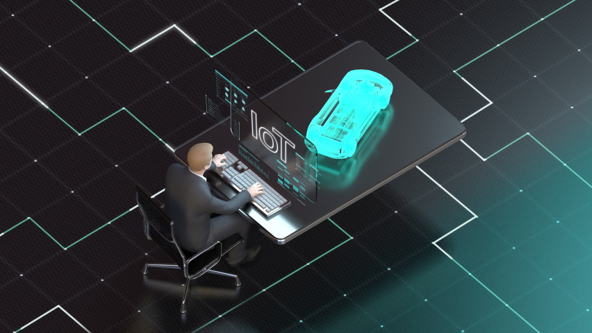 Businessman operates autonomous driving electric battery car at a desk through UI monitor. Future transportation technology, 4k animation. Royalty-Free Stock Footage #1067129851