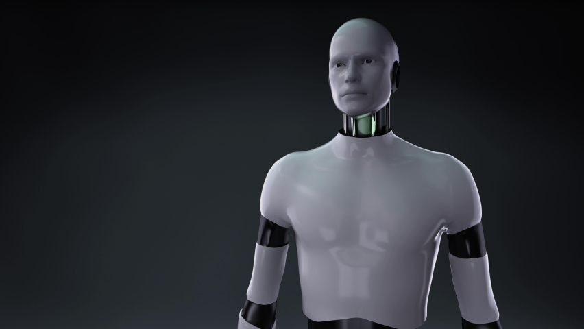 When the robot opens palm, artificial intelligence robots on a white square floor, IoT AI Future technology,  4k animation. Royalty-Free Stock Footage #1067129854