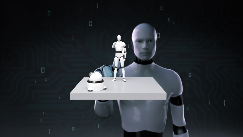 When the robot touches the front, the artificial intelligence Robots on the white square that appears, IoT AI Future technology,  4k animation.1. Royalty-Free Stock Footage #1067129863
