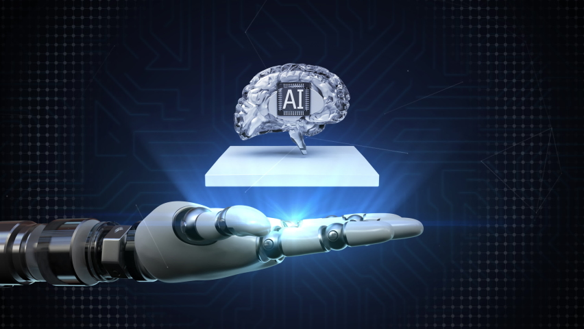 The robot arm spreads its palm, The AI brain rotates and appears, Artificial Intelligence concept, 4k animation. Royalty-Free Stock Footage #1067129866