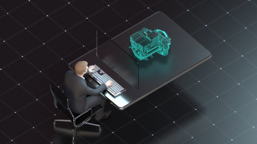 Businessman operates car engine at a desk. IoT future transportation technology, 4k animation. Royalty-Free Stock Footage #1067129869