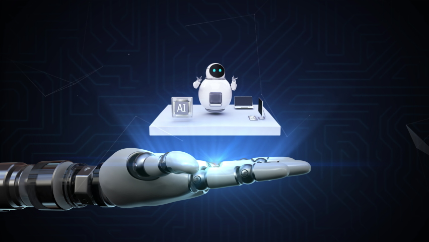 The robot arm spreads its palm, artificial intelligence Robots and cpu rotates. 4k animation. Royalty-Free Stock Footage #1067129917