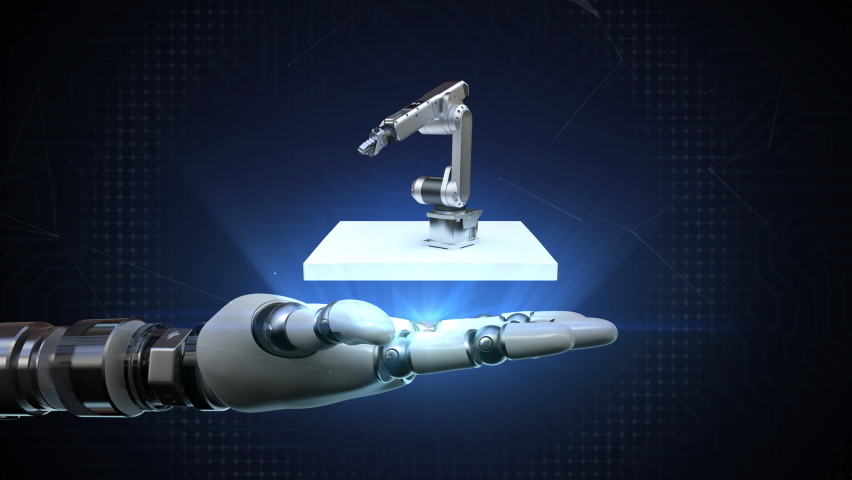 The robot arm spreads its palm, the factory robot arm rotates and appears. 4k animation. Royalty-Free Stock Footage #1067129923