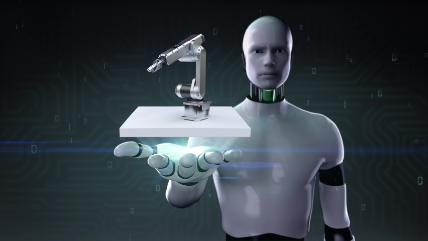 When the robot opens palm, robot arms on a white square, IoT 4th industrial revolution, Future technology, smart factory, 4k animation. Royalty-Free Stock Footage #1067129938
