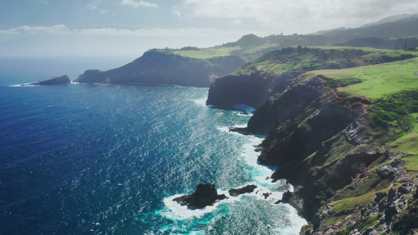 Scenic rocky coast nature background. Traveling pure nature of tropical island Maui, Hawaii, USA. Cinematic aerial view of wild nature the world famous coastline. Outdoors adventure and travel 4K | Shutterstock HD Video #1067130298
