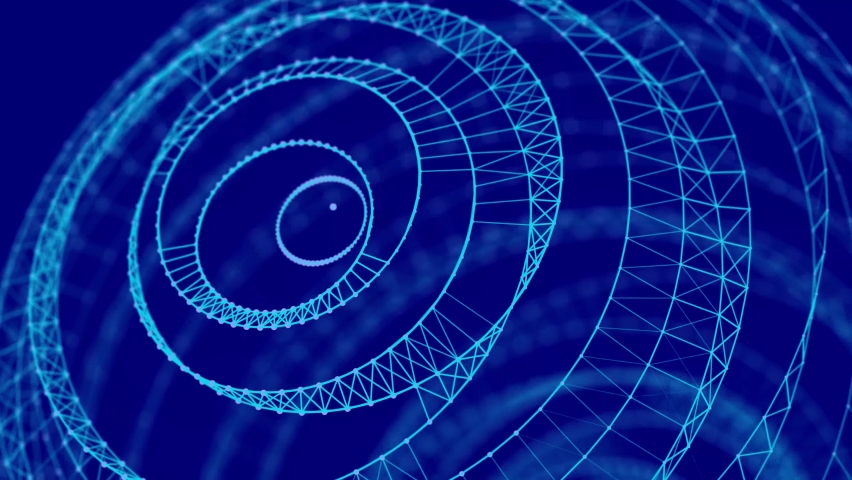 Abstract digital connection moving dots and lines. Technology background. Network connection structure. Plexus effect.  Spiral vortex. 3d Seamless loop. 4K  Royalty-Free Stock Footage #1067138515