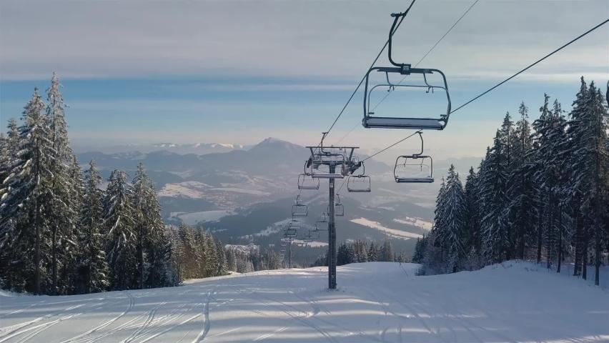 Empty chairlift in closed ski resort due to coronavirus in beautiful sunny winter season in alpine mountains   Shutterstock HD Video #1067177512