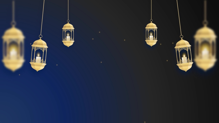 Animated Gold lantern and glowing stars on a black blue background. Animated Islamic backgrounds. Animated Eid. Ramadan Animations Royalty-Free Stock Footage #1067186881