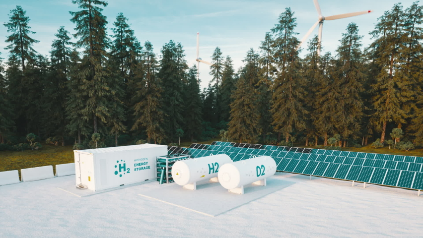 Concept of hydrogen energy storage from renewable sources - wind turbines and photovoltaics. 3d rendering clip Royalty-Free Stock Footage #1067209471