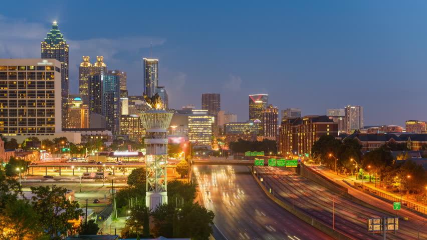 Atlanta, Georgia, USA downtown skyline time lapse.