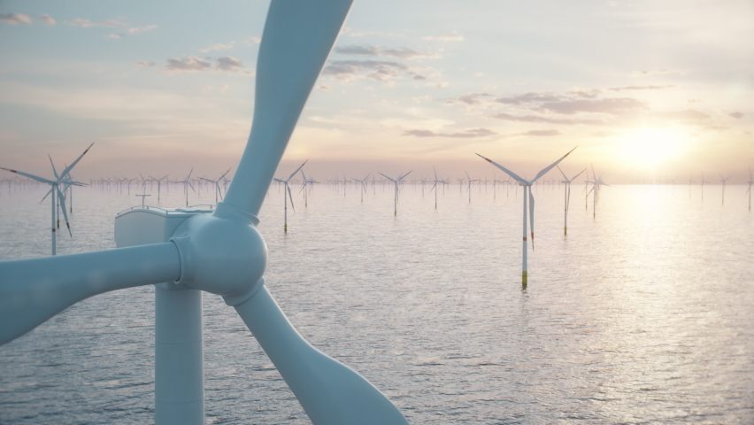 Camera pulls back through rotating blades of a wind turbine in an offshore wind farm in the sea against low sun. Green and renewable energy concept. Realistic high quality 3d animation. Royalty-Free Stock Footage #1067268403