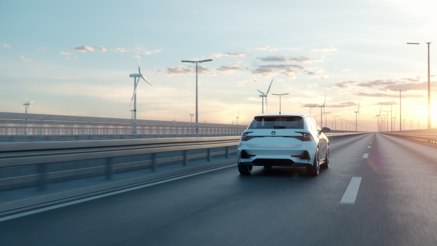 Generic electric car driving along a bridge or coastal highway with wind turbines in background. Realistic 3d animation.  Royalty-Free Stock Footage #1067268406