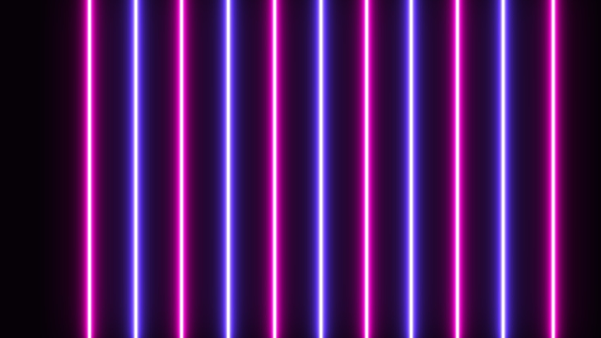 4k. Vertical glowing lines. Blue violet neon lights. Abstract background. Motion graphics. Royalty-Free Stock Footage #1067277676