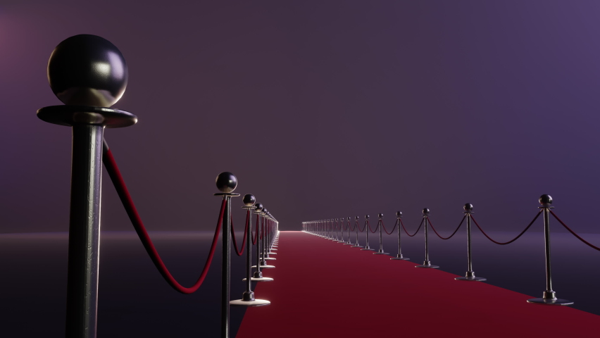 Red carpet and velvet ropes on gala night background. 3D rendering. Background Royalty-Free Stock Footage #1067278336