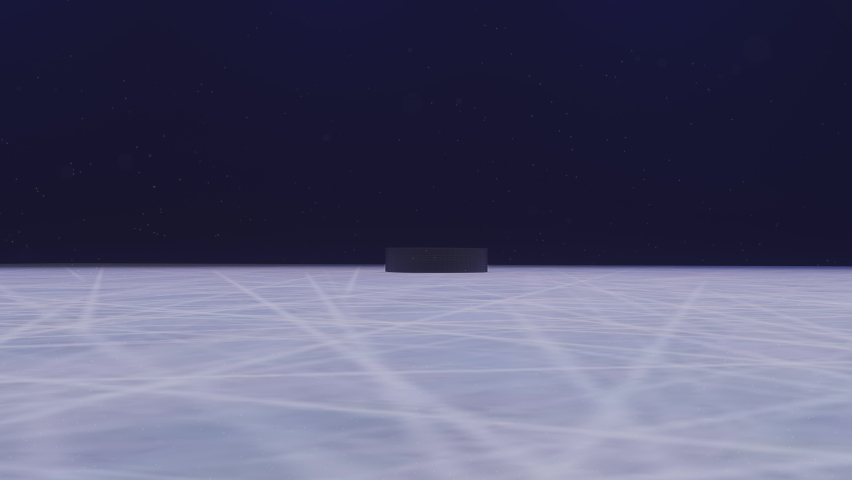 3d render Hockey Puck Drop animated puck drops from above and hits ice with two stick Royalty-Free Stock Footage #1067281468
