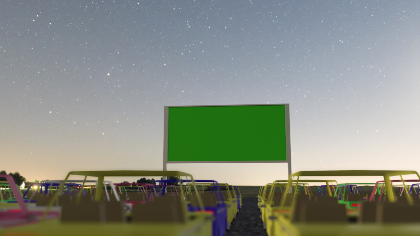 3d render animated Open air, outdoor or drive-in cinema theater Royalty-Free Stock Footage #1067291767