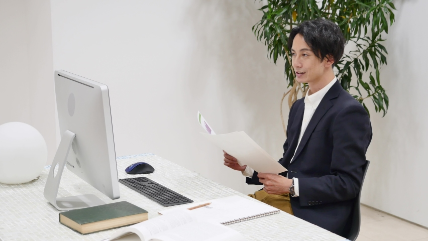 Asian office workers working at the office Royalty-Free Stock Footage #1067359619