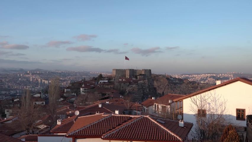 Ankara Castle is a popular tourist attraction. Ankara, Turkey.