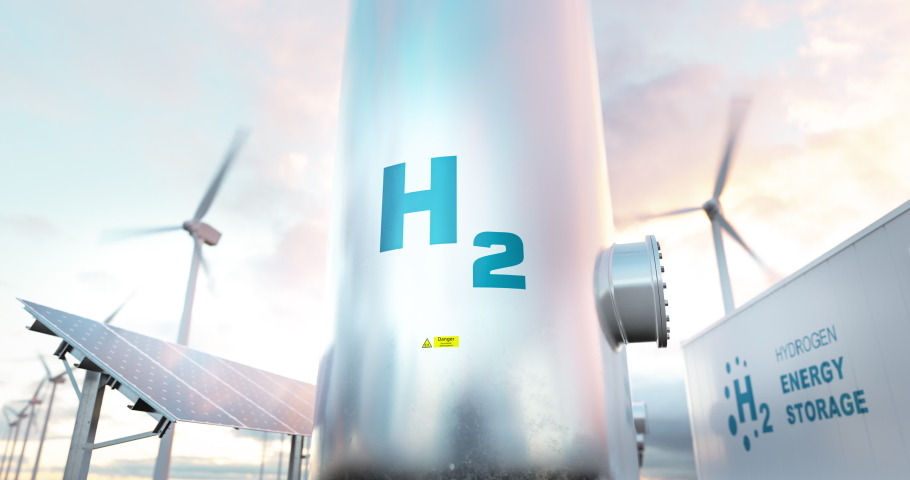 Hydrogen energy storage gas tank with solar panels, wind turbine and energy storage container unit in background. 3d rendering. Royalty-Free Stock Footage #1067426750