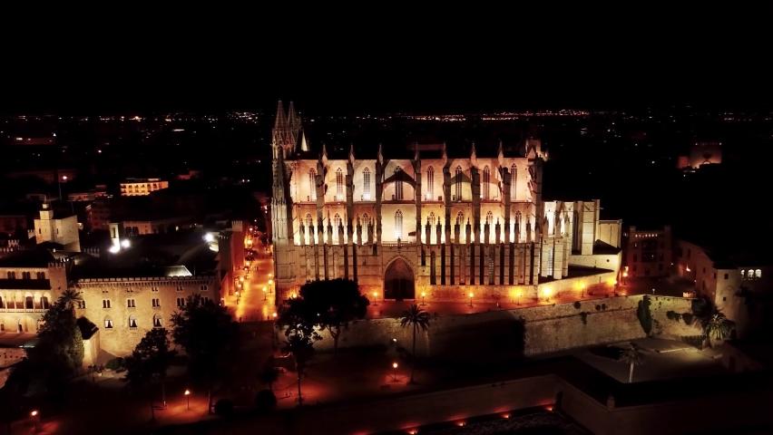 Drone 4K night fly around beautiful Santa Maria cathedral on Palma de Mallorca. Night city. | Shutterstock HD Video #1067427806