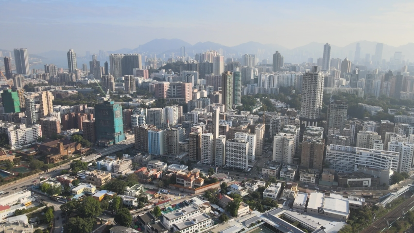 Housing and business district at Hong Kong, Aerial view | Shutterstock HD Video #1067429081