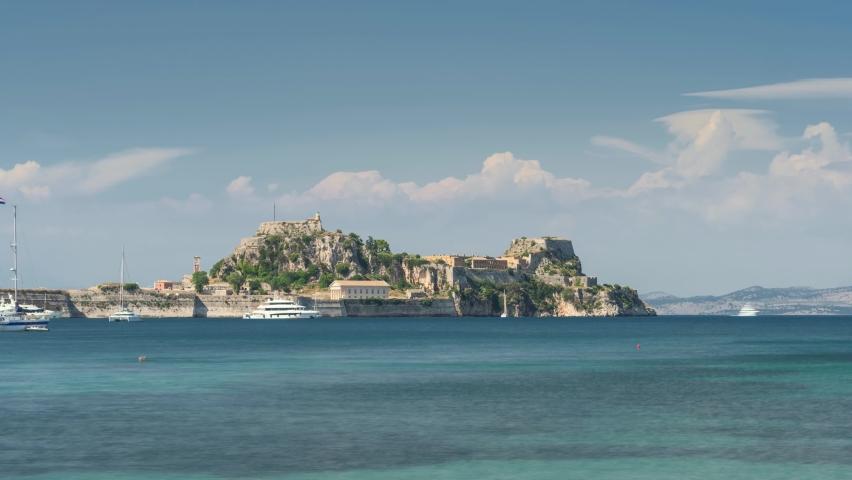 Corfu Town, Greece: View of Old Venetian Fortress in Corfu Island. Landscape panorama, time-lapse, ancient, fort, corfu, island, blue sky, sea. Time Lapse Video 4K   Shutterstock HD Video #1067511128